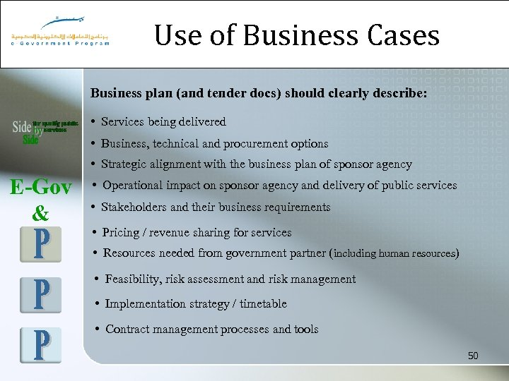Use of Business Cases Business plan (and tender docs) should clearly describe: • Services
