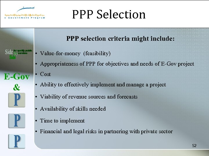 PPP Selection PPP selection criteria might include: • Value-for-money (feasibility) • Appropriateness of PPP