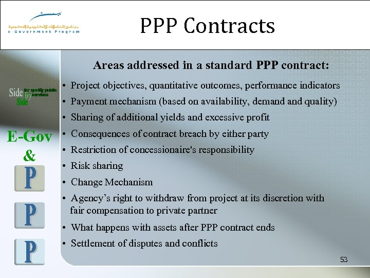 PPP Contracts Areas addressed in a standard PPP contract: • Project objectives, quantitative outcomes,