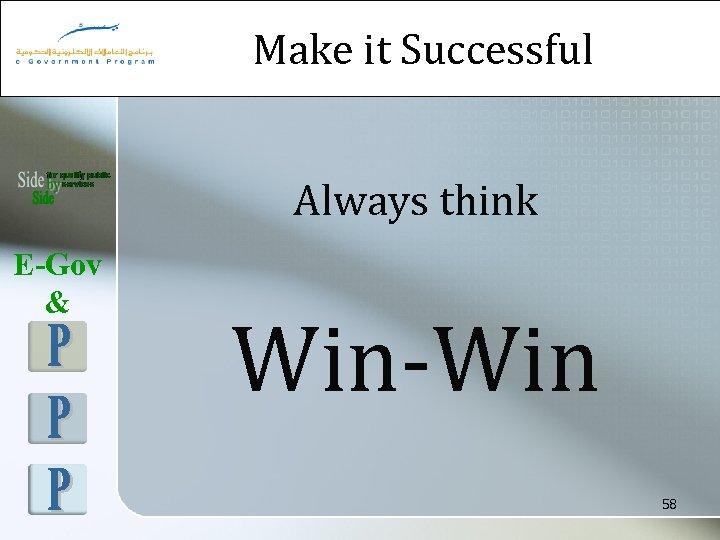 Make it Successful Always think E-Gov & Win-Win 58