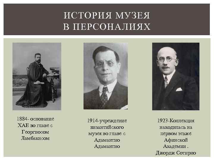 ИСТОРИЯ МУЗЕЯ В ПЕРСОНАЛИЯХ 1884 - основание ХАЕ во главе с Георгиосом Ламбакисом 1914
