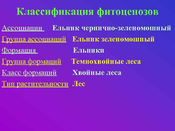 Классификация фитоценозов Ассоциации Ельник чернично-зеленомошный Группа ассоциаций Ельник зеленомошный Формация Ельники Группа формаций Темнохвойные