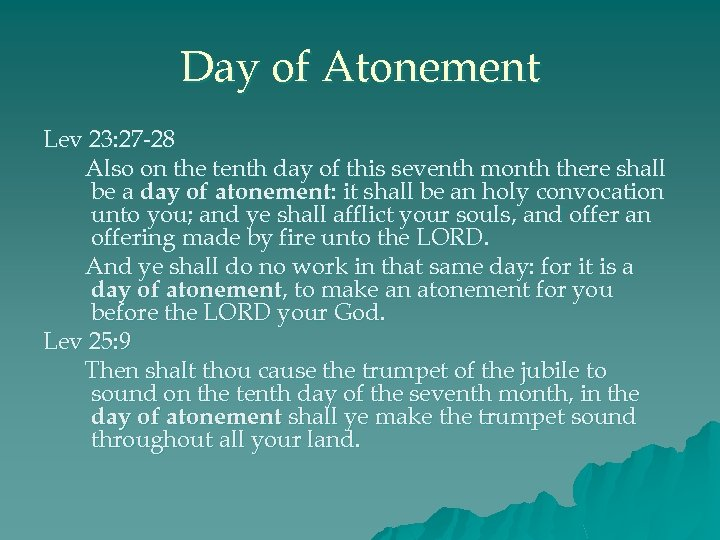 Day of Atonement Lev 23: 27 -28 Also on the tenth day of this