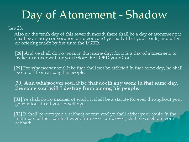 Day of Atonement - Shadow Lev 23: Also on the tenth day of this