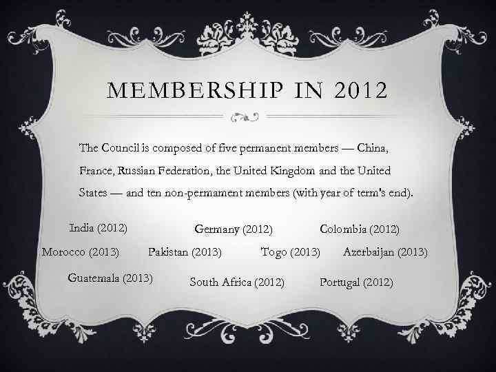 MEMBERSHIP IN 2012 The Council is composed of five permanent members — China, France,
