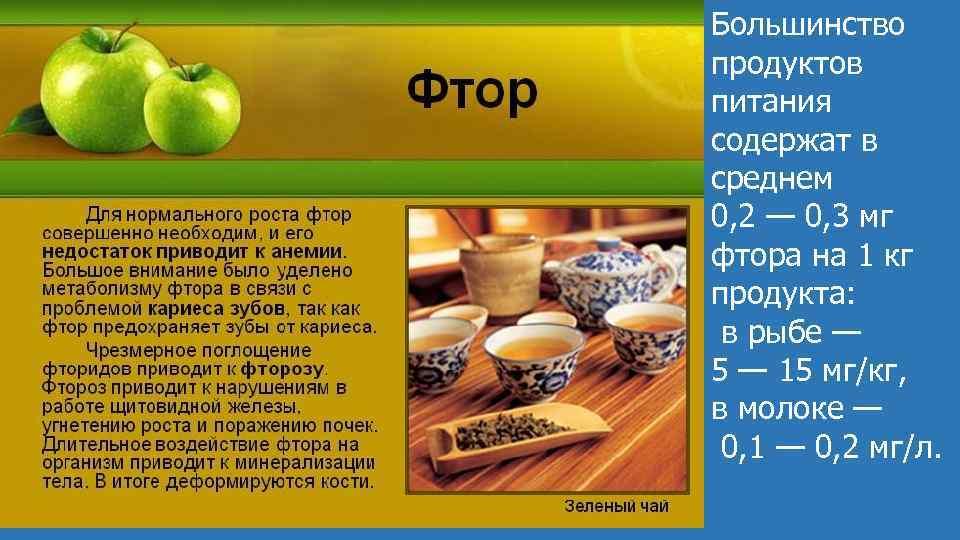 Большинство продуктов питания содержат в среднем 0, 2 — 0, 3 мг фтора на