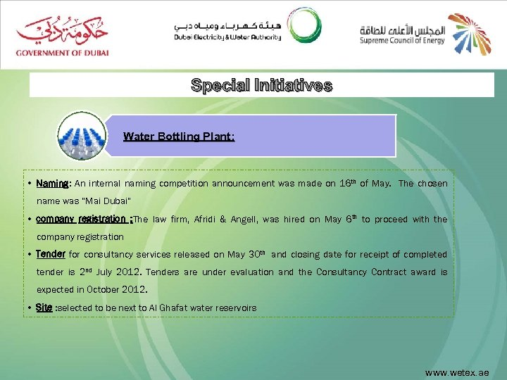 Special Initiatives Water Bottling Plant: • Naming: An internal naming competition announcement was made