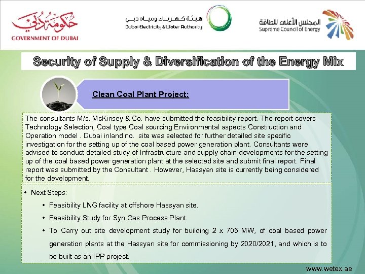 Security of Supply & Diversification of the Energy Mix Clean Coal Plant Project: The
