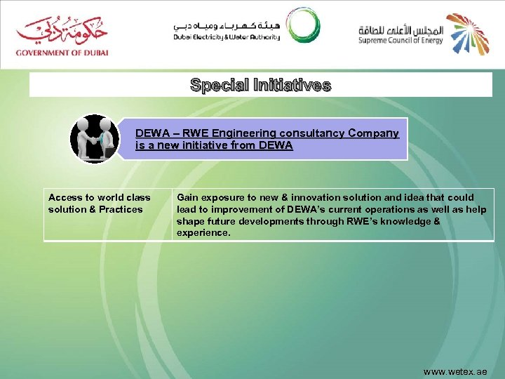 Special Initiatives DEWA – RWE Engineering consultancy Company is a new initiative from DEWA