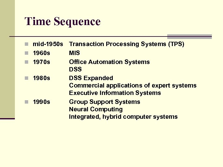 Time Sequence n mid-1950 s n 1960 s n 1970 s n 1980 s