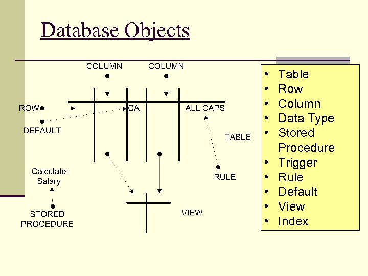 Database Objects • • • Table Row Column Data Type Stored Procedure Trigger Rule