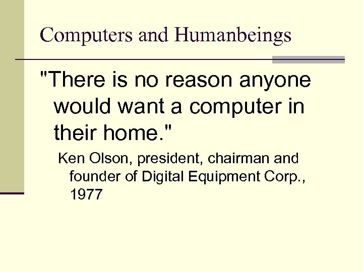 Computers and Humanbeings