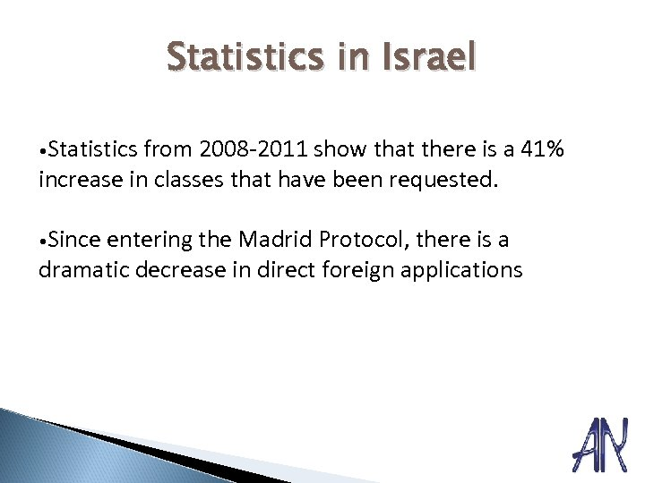 Statistics in Israel • Statistics from 2008 -2011 show that there is a 41%