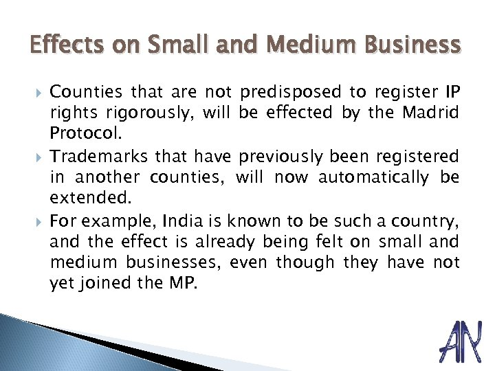 Effects on Small and Medium Business Counties that are not predisposed to register IP