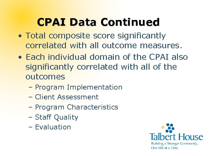 CPAI Data Continued • Total composite score significantly correlated with all outcome measures. •