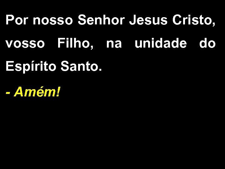 Por nosso Senhor Jesus Cristo, vosso Filho, na unidade do Espírito Santo. - Amém!