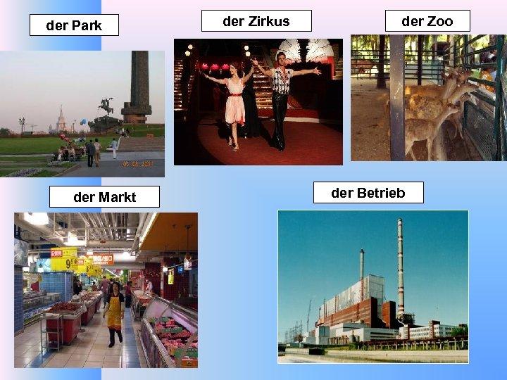 der Park der Markt der Zirkus der Zoo der Betrieb
