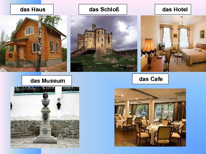 das Haus das Museum das Schloß das Hotel das Cafe