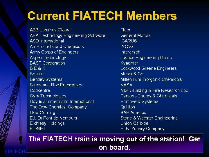 Current FIATECH Members ABB Lummus Global AEA Technology Engineering Software ASD International Air Products