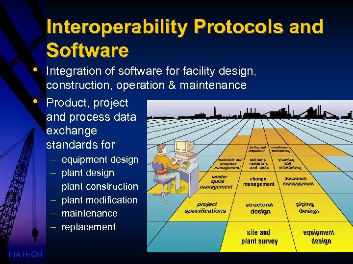 • • Interoperability Protocols and Software Integration of software for facility design, construction,