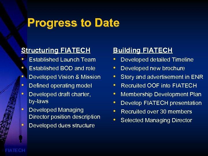 Progress to Date Structuring FIATECH Building FIATECH • • • • FIATECH Established Launch