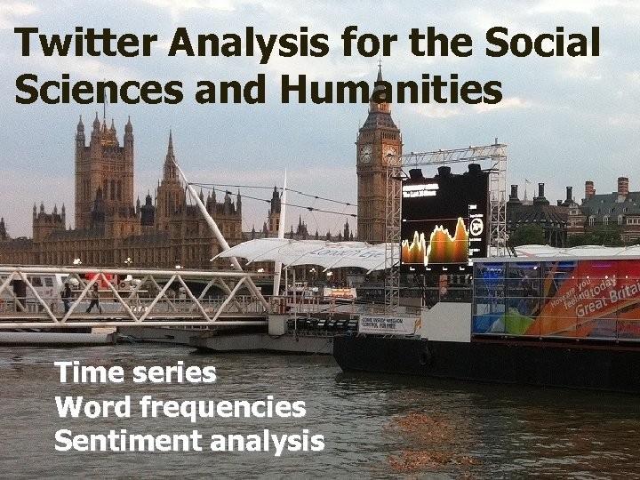 Twitter Analysis for the Social Sciences and Humanities Time series Word frequencies Sentiment analysis