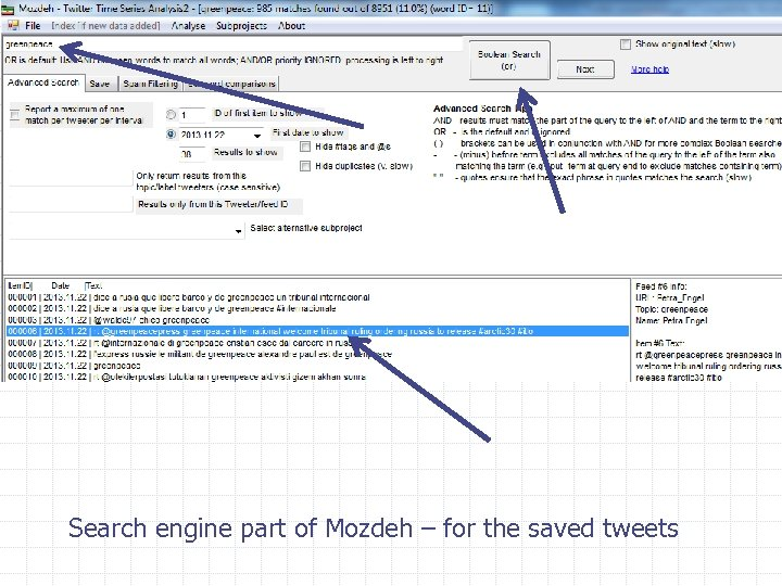 Search engine part of Mozdeh – for the saved tweets