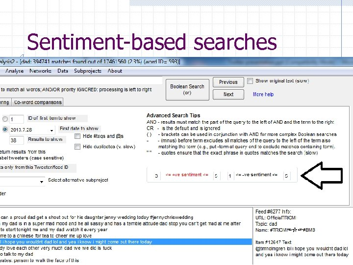 Sentiment-based searches