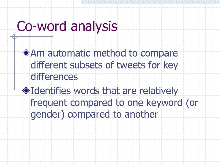 Co-word analysis Am automatic method to compare different subsets of tweets for key differences