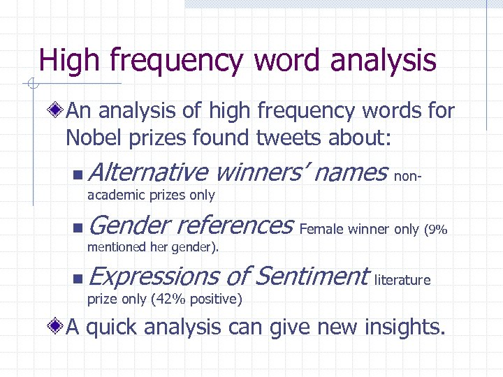 High frequency word analysis An analysis of high frequency words for Nobel prizes found