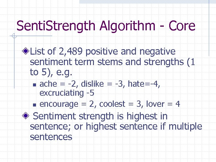 Senti. Strength Algorithm - Core List of 2, 489 positive and negative sentiment term