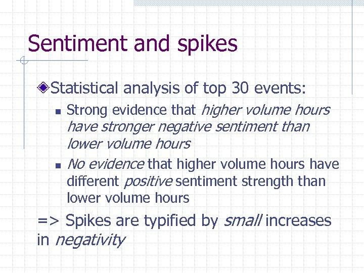 Sentiment and spikes Statistical analysis of top 30 events: n n Strong evidence that
