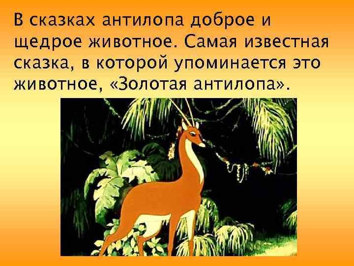 В сказках антилопа доброе и щедрое животное. Самая известная сказка, в которой упоминается это