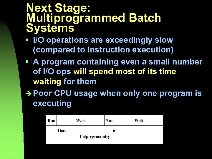 Next Stage: Multiprogrammed Batch Systems § I/O operations are exceedingly slow (compared to instruction