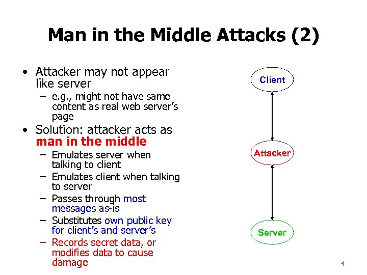 Man in the Middle Attacks (2) • Attacker may not appear like server Client