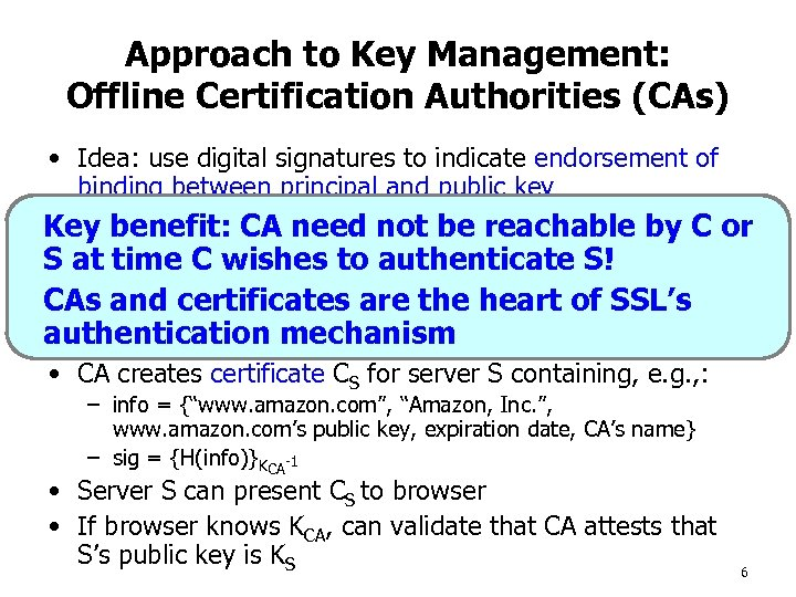 Approach to Key Management: Offline Certification Authorities (CAs) • Idea: use digital signatures to