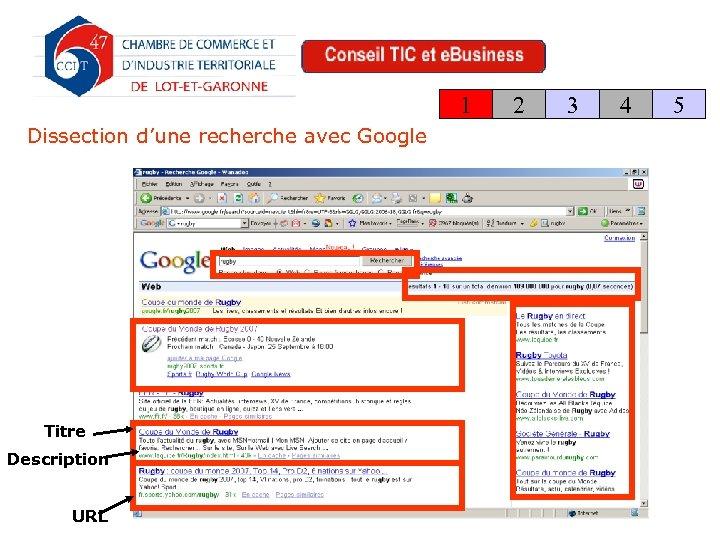 1 Dissection d'une recherche avec Google Titre Description URL 2 3 4 5