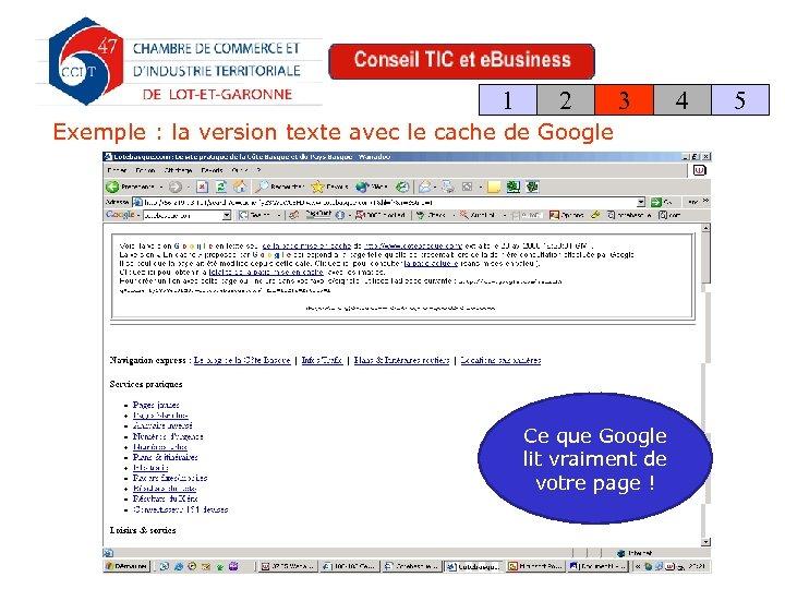 1 2 3 Exemple : la version texte avec le cache de Google Ce