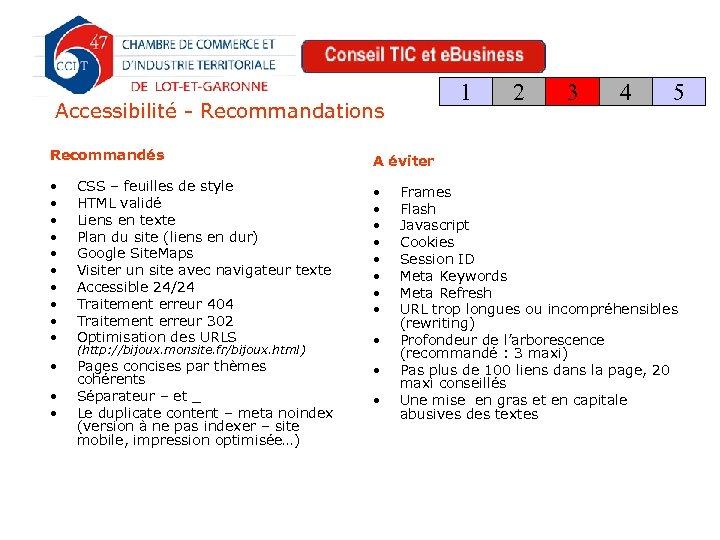 1 Accessibilité - Recommandations Recommandés CSS – feuilles de style HTML validé Liens en