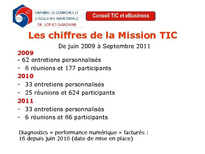 Les chiffres de la Mission TIC De juin 2009 à Septembre 2011 2009 -