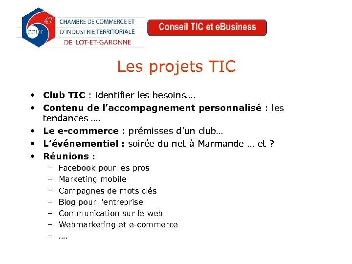 Les projets TIC • Club TIC : identifier les besoins…. • Contenu de l'accompagnement