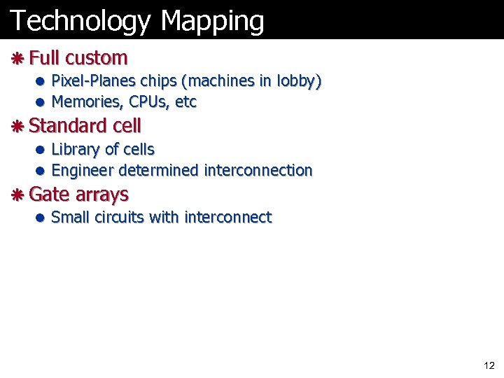 Technology Mapping ã Full custom l Pixel-Planes chips (machines in lobby) l Memories, CPUs,