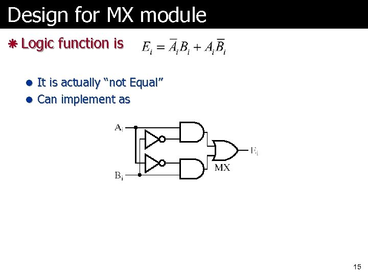 "Design for MX module ã Logic function is l It is actually ""not Equal"""