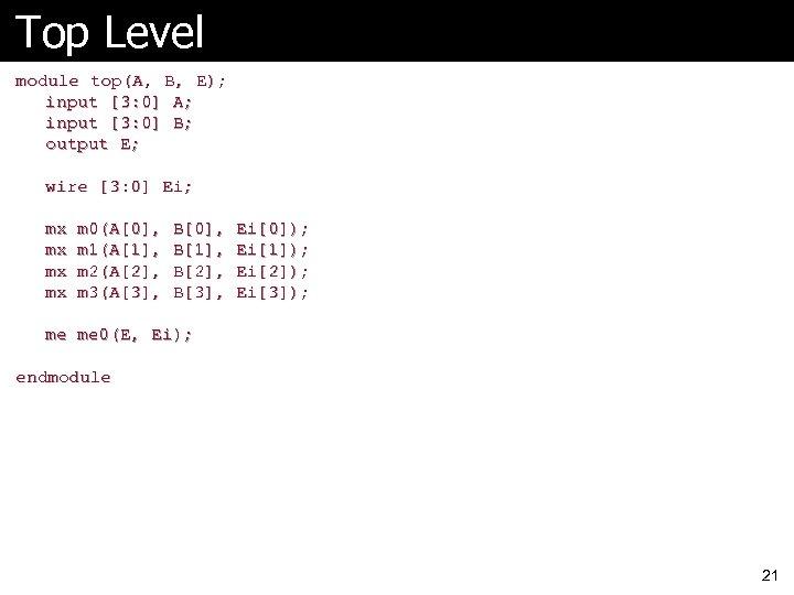 Top Level module top(A, B, E); input [3: 0] A; input [3: 0] B;