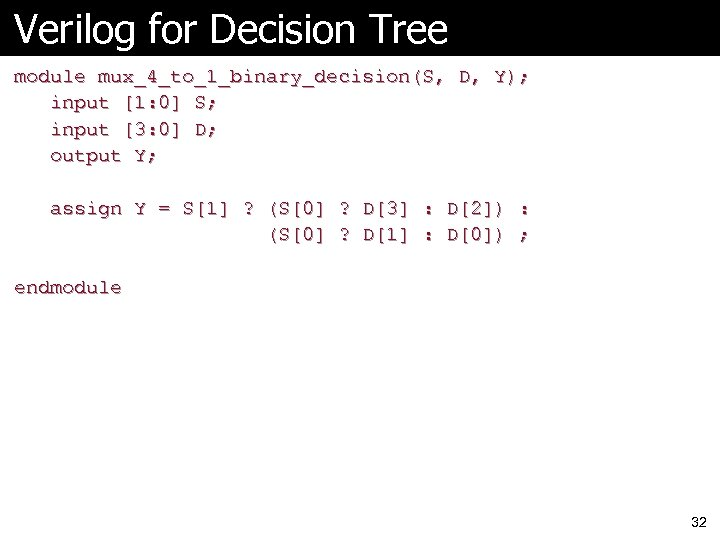 Verilog for Decision Tree module mux_4_to_1_binary_decision(S, D, Y); input [1: 0] S; input [3: