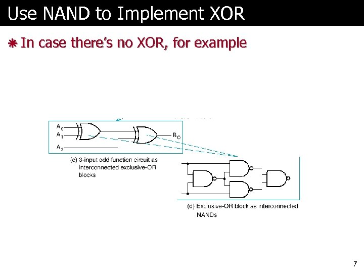 Use NAND to Implement XOR ã In case there's no XOR, for example 7