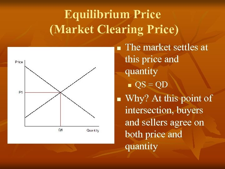 Equilibrium Price (Market Clearing Price) n The market settles at this price and quantity
