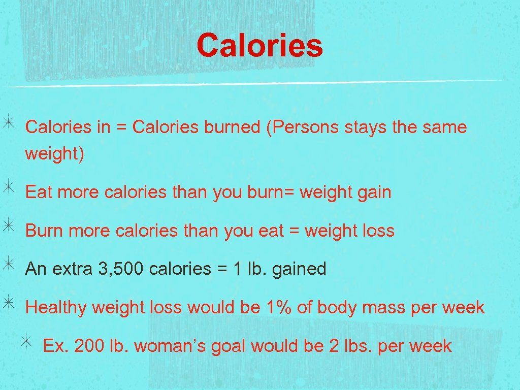 Calories in = Calories burned (Persons stays the same weight) Eat more calories than