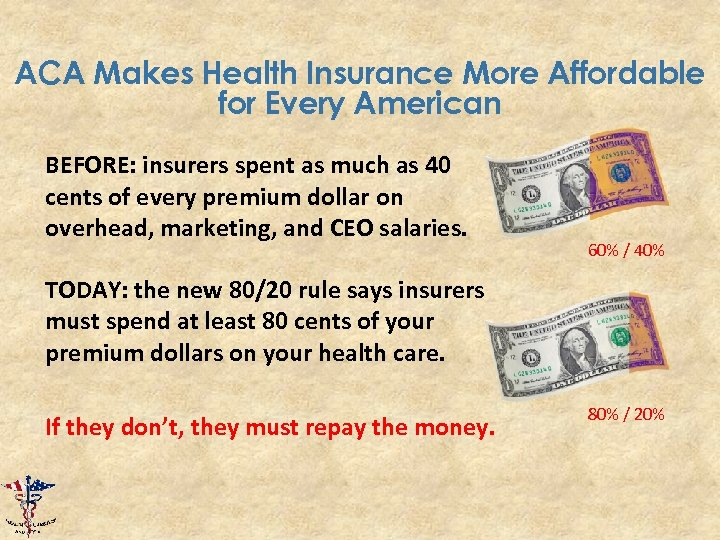 ACA Makes Health Insurance More Affordable for Every American BEFORE: insurers spent as much