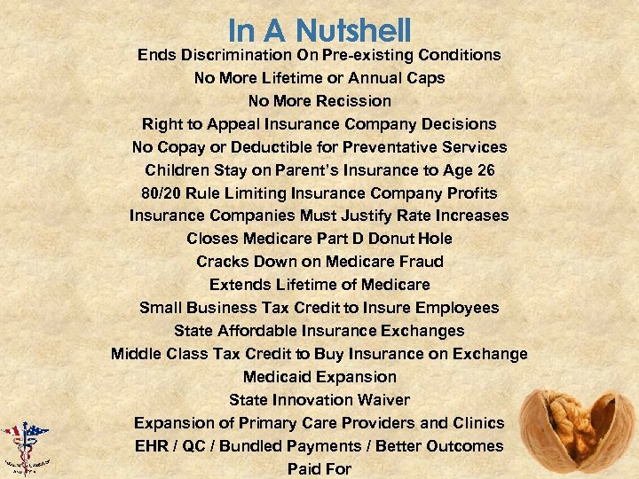 In A Nutshell Ends Discrimination On Pre-existing Conditions No More Lifetime or Annual Caps